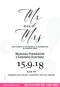 Invitación de bodas MR AND MRS